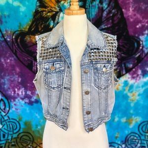 Studded Denim Crop Top Vest